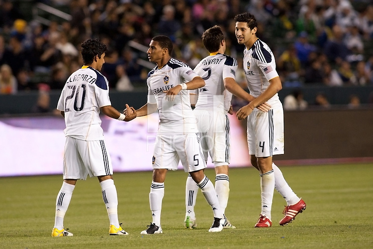 LA Galaxy starting defensive back line (from L-R) A.J. DeLaGarza, Sean Franklin, Todd Dunivant and Omar Gonzalez kept the Timbers at bay all evening. The LA Galaxy defeated the Portland Timbers 3-0 at Home Depot Center stadium in Carson, California on  April  23, 2011....