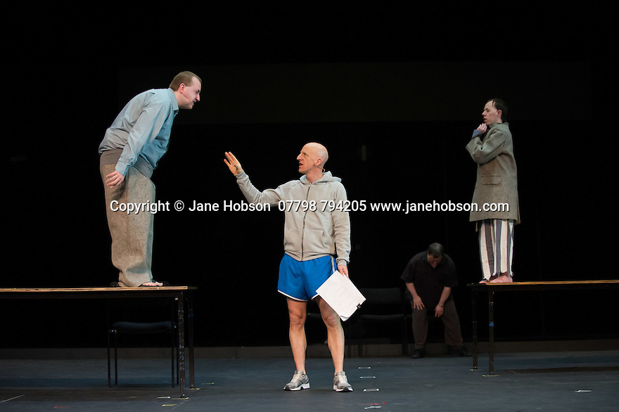 Edinburgh, UK. 09.08.2014.  GANESH VERSUS THE THIRD REICH, presented by Australian company, Back to Back Theatre, opens at the Royal Lyceum Theatre, as part of the Edinburgh International Festival. Picture shows:  Brian Tilley, David Woods and Simon Laherty, with Mark Deans in the background. Photograph © Jane Hobson.
