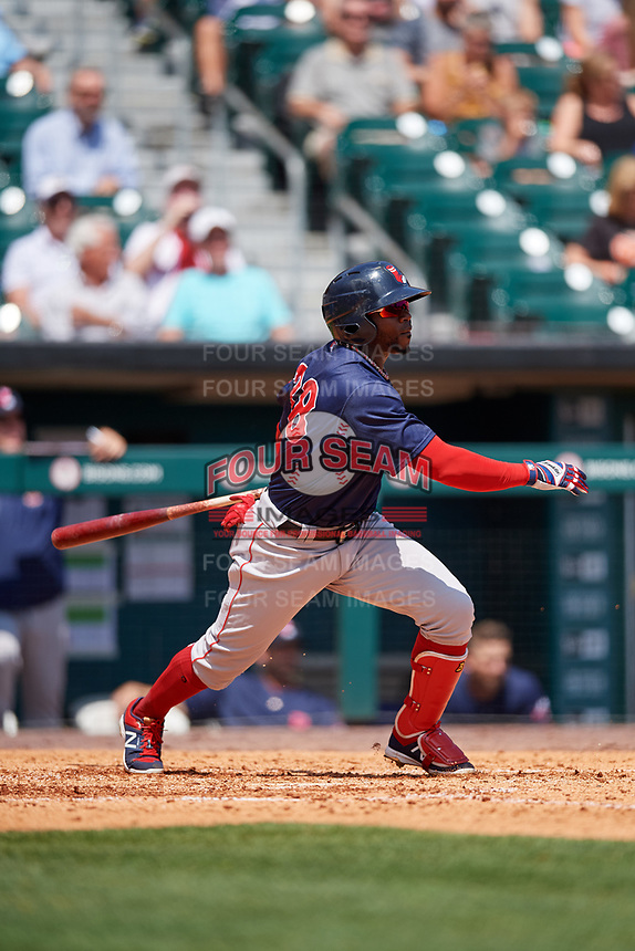 Pawtucket Red Sox right fielder Rusney Castillo (38) follows through on a swing during a game against the Buffalo Bisons on June 28, 2018 at Coca-Cola Field in Buffalo, New York.  Buffalo defeated Pawtucket 8-1.  (Mike Janes/Four Seam Images)
