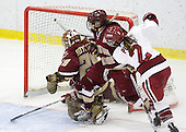 Allie Thunstrom (BC - 9), Corinne Boyles (BC - 29), Katelyn Kurth (BC - 14), Josephine Pucci (Harvard - 2) - The Harvard University Crimson defeated the Boston College Eagles 5-0 in their Beanpot semi-final game on Tuesday, February 2, 2010 at the Bright Hockey Center in Cambridge, Massachusetts.