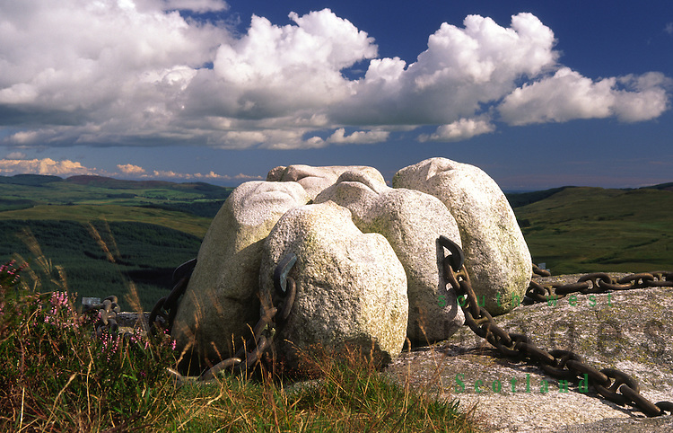 Art artist Matt Bakers sculpture Hush made of granite from Cairnsmore of Fleet up on the top of the Clints of Dromore cliffs in Cairnsmore of Fleet National Nature Reserve Galloway Scotland UK