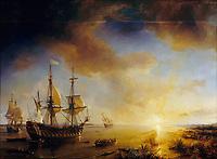 Expédition de Robert Cavelier de La Salle à la Louisiane en 1684, peint en 1844 par Théodore Gudin. La Belle est sur la gauche, Le Joly au centre et L'Aimable6 est échoué à droite.