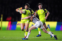 Maxime Mermoz of Leicester Tigers takes on the Harlequins defence. Aviva Premiership match, between Harlequins and Leicester Tigers on February 24, 2017 at the Twickenham Stoop in London, England. Photo by: Patrick Khachfe / JMP