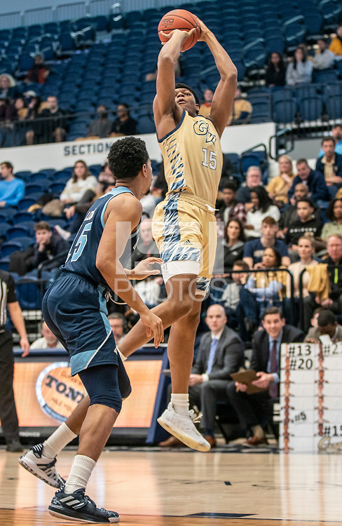 WASHINGTON, DC - FEBRUARY 8: Mezie Offurum #15 of George Washington takes a shot during a game between Rhode Island and George Washington at Charles E Smith Center on February 8, 2020 in Washington, DC.