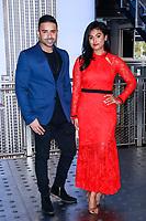 NEW YORK, NY - NOVEMBER 7:  Jay Sean and Nina Davuluri  light the Empire State Building in celebration of  Diwali on November 7, 2018 in New York City.               <br /> CAP/MPI99<br /> &copy;MPI99/Capital Pictures