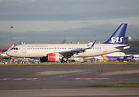 A Scandinavian Airlines Airbus A320-251N Registration EI-SIA named Ulv Viking at Manchester Airport on 11.2.19 arriving from Copenhagen Airport, Denmark.