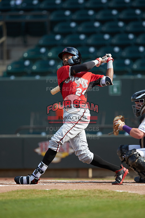 Wes Rogers (24) of the Carolina Mudcats follows through on his swing against the Winston-Salem Dash at BB&T Ballpark on June 1, 2019 in Winston-Salem, North Carolina. The Mudcats defeated the Dash 6-3 in game one of a double header. (Brian Westerholt/Four Seam Images)