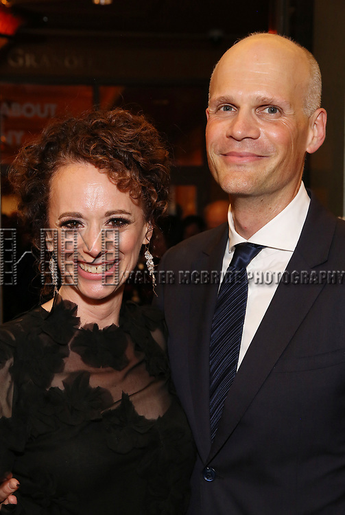 Rebecca Taichman and husband attends the Broadway Opening Night performance of The Roundabout Theatre Company production of 'Time and The Conways'  on October 10, 2017 at the American Airlines Theatre in New York City.