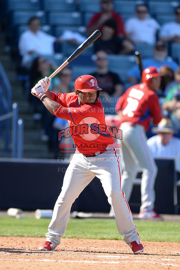 Philadelphia Phillies outfielder Leandro Castro (65) during a spring training game against the New York Yankees on March 1, 2014 at Steinbrenner Field in Tampa, Florida.  New York defeated Philadelphia 4-0.  (Mike Janes/Four Seam Images)