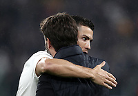 Calcio, Serie A: Juventus - Caglairi, Turin, Allianz Stadium, November 3, 2018.<br /> Juventus' Cristiano Ronaldo (l) greets Juventu's President Andrea Agnelli (r) as he gives the celebrative jersey &quot;400&quot; goals prior to the Italian Serie A football match between Juventus and Cagliari at Torino's Allianz stadium, November 3, 2018.<br /> UPDATE IMAGES PRESS/Isabella Bonotto