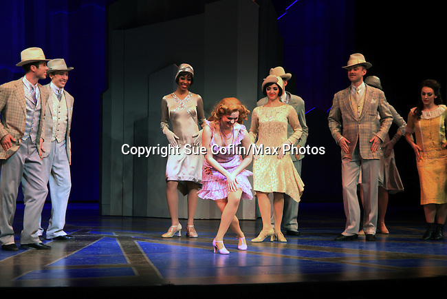 "Curtain Call - Cast of ""Thoroughly Modern Miillie"" at the Paper Mill Playhouse, Millburn, NJ with opening night being on April 14, 2013. Opening Night curtain call with the after party at Martinis Bistro and Bar.   (Photo by Sue Coflin/Max Photos)"