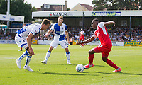 Amari'i Bell of Fleetwood Town takes on Joe Partington of Bristol Rovers during the Sky Bet League 1 match between Bristol Rovers and Fleetwood Town at the Memorial Stadium, Bristol, England on 26 August 2017. Photo by Mark  Hawkins.