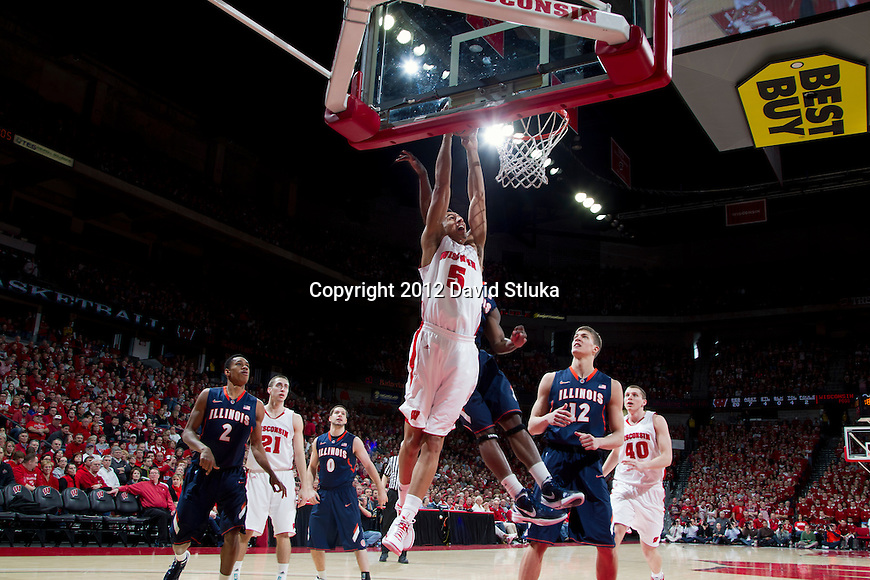 Wisconsin Badgers forward Ryan Evans (5) scores during a Big Ten Conference NCAA college basketball game against the Illinois Fighting Illini on Sunday, March 4, 2012 in Madison, Wisconsin. The Badgers won 70-56. (Photo by David Stluka)