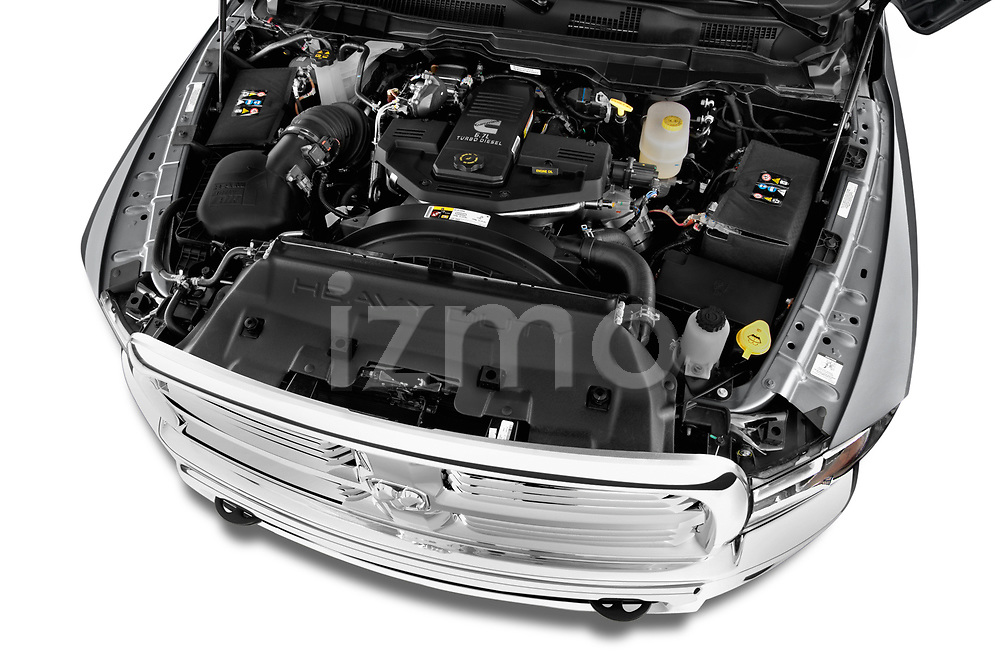 Car stock 2017 Ram 3500 Big Horn 4 Door Pick Up engine high angle detail view
