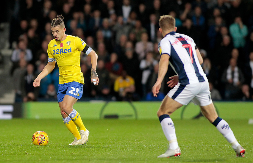 Leeds United's Kalvin Phillips in action<br /> <br /> Photographer David Shipman/CameraSport<br /> <br /> The EFL Sky Bet Championship - West Bromwich Albion v Leeds United - Saturday 10th November 2018 - The Hawthorns - West Bromwich<br /> <br /> World Copyright © 2018 CameraSport. All rights reserved. 43 Linden Ave. Countesthorpe. Leicester. England. LE8 5PG - Tel: +44 (0) 116 277 4147 - admin@camerasport.com - www.camerasport.com
