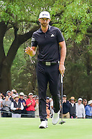 Dustin Johnson (USA) after sinking his putt on 16 after having his second shot get stuck in a tree during round 3 of the World Golf Championships, Mexico, Club De Golf Chapultepec, Mexico City, Mexico. 3/4/2017.<br /> Picture: Golffile | Ken Murray<br /> <br /> <br /> All photo usage must carry mandatory copyright credit (&copy; Golffile | Ken Murray)