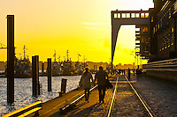 People strolling in Hafen City (the harbor along the Elbe RIver), Hamburg, Germany