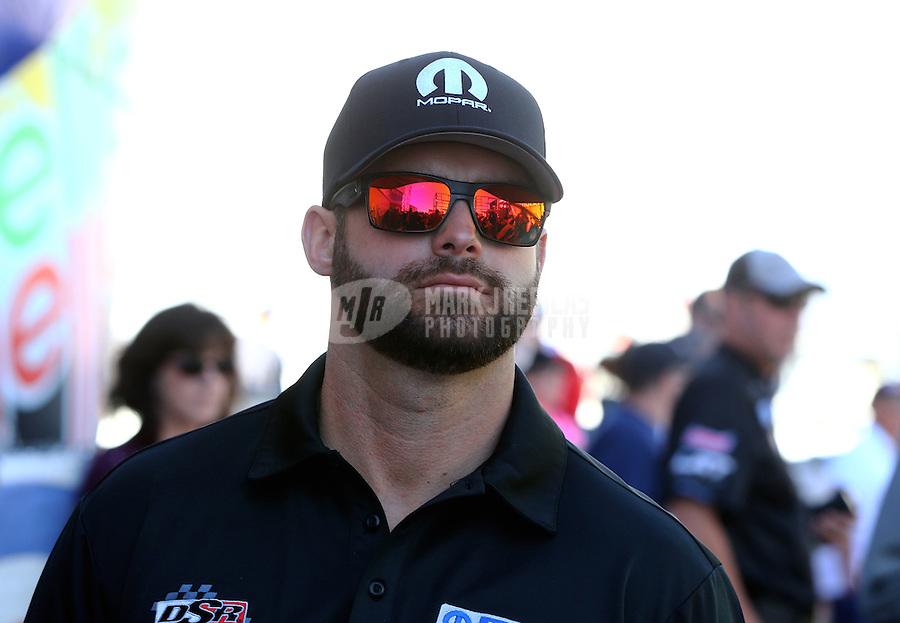 Nov 2, 2014; Las Vegas, NV, USA; NHRA funny car driver Matt Hagan during the Toyota Nationals at The Strip at Las Vegas Motor Speedway. Mandatory Credit: Mark J. Rebilas-USA TODAY Sports