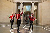 London, UK. 25 April 2016. L-R: Emilia Gasiorek, Luke Crook and Margarita Zafrilla Olayo. The Tate Britain Commission 2016 Pablo Bronstein: Historical Dances in an Antique Setting opens at the Duveen Galleries of Tate Britain on 26 April and runs until 9 October 2016. The commission features a continuous live performance by three dancers created by Pablo Bronstein. The annual Tate Britain Commission is supported by Sotheby's which invites artists to create a new large-scale work in response to the neo-classical Duveen Galleries at Tate Britain. Entrance is free.