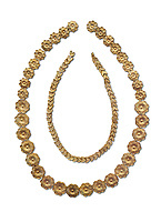 Mycenaean gold necklace from the Mycenaean cemetery of Midea tholos tomb , Dendra, Greece. National Archaeological Museum Athens. White Background.<br /> <br /> Inside mycenaean necklace has gold ivy leaf beads, Cat No 7354. The outer mycenaean necklace has rosette shaped gold beads, Cat No 7342. 15th-14th century BC.