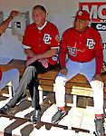 23 September 2007: Former Washington Senators third baseman Frank Howard (left) sits in the Washington Nationals dugout with bench coach Pat Corrales (right) prior to the very last professional baseball game, played against the Philadelphia Phillies at Robert F. Kennedy Memorial Stadium in Washington, DC. The Nationals defeated the visiting Phillies 5-3 to close out the 2007 home season. The Nationals will open up the 2008 season at Nationals Park, their new facility currently under construction.. .Mandatory Photo Credit: Ed Wolfstein Photo