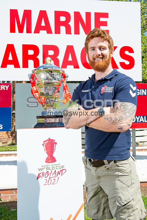 Picture by Allan McKenzie/SWpix.com - 14/06/2018 - Commercial - Rugby League - Rugby League World Cup 2021 Ambassador Unveil, Marne Barracks, Catterick, England - James Simpson with the Rugby League World Cup.