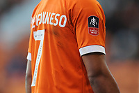 Close-up detail of Blackpool's Nathan Delfouneso's shirt, showing the Emirates FA Cup badge<br /> <br /> Photographer Kevin Barnes/CameraSport<br /> <br /> Emirates FA Cup Second Round - Blackpool v Maidstone United - Sunday 1st December 2019 - Bloomfield Road - Blackpool<br />  <br /> World Copyright © 2019 CameraSport. All rights reserved. 43 Linden Ave. Countesthorpe. Leicester. England. LE8 5PG - Tel: +44 (0) 116 277 4147 - admin@camerasport.com - www.camerasport.com