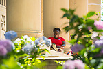 Orientation leader KaLyndzeyia Gray stands by to help at Fulton Chapel.  Photo by Kevin Bain/Ole Miss Communications