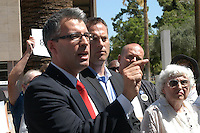 AJ Alexander - Re-Election Signatures Press Confrence with Randy Paraz announcing the 8,239 confirmed signatures for a Re-Election Recall on Russell Pearce at  the State Capitol, on Wednesday June 15, 2011..Photo by AJ Alexander