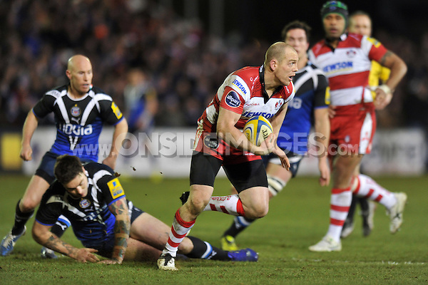 Mike Tindall looks to counter-attack. Aviva Premiership match, between Bath Rugby and Gloucester Rugby on March 1, 2013 at the Recreation Ground in Bath, England. Photo by: Patrick Khachfe / Onside Images
