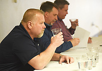 NWA Democrat-Gazette/FLIP PUTTHOFF<br />BEST TASTING WATER<br />Steve Waryas (from left), Brent Hutchins and Jason Bird judge tap water from six Northwest Arkansas providers on Wednesday March 14 2018 in an annual contest at the Center for Nonprofits in Rogers to determine whose water tastes best. Rogers Water Utilities and Springdale Water Utilities tied for victory, so a sudden death &quot;taste-off&quot; was held. Rogers was declared the winner. The contest was part of the monthly meeting of the northwest district of Arkansas Water Works and Water Environment Association, said Brad Stewart, district chairman.