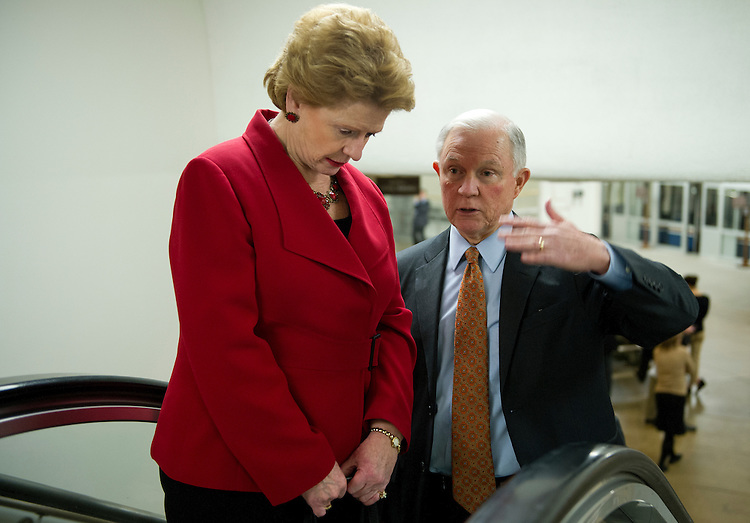 UNITED STATES - Nov 19: Sen. Debbie Stabenow, D-MI., and Sen. Jeff Sessions, R-AL., arrive at the U.S. Capitol on November 19, 2013 for the Senate luncheons.  (Photo By Douglas Graham/CQ Roll Call)