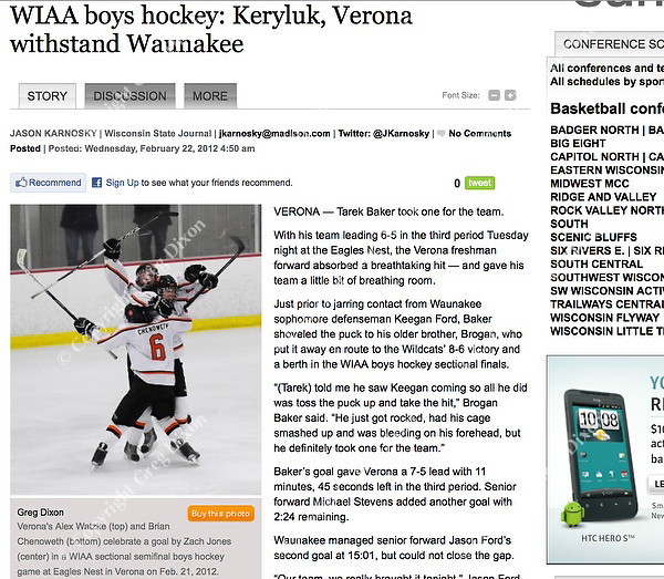 Verona's Alex Watzke (top) and Brian Chenoweth (bottom) celebrate a goal by Zach Jones (center) in WIAA sectional semifinal prep boys hockey between Waunakee and Verona at the Eagles Nest in Verona, Wisconsin | Jason Karnosky article with Greg Dixon photos appeared in print and on-line at http://bit.ly/Aj6Lg0