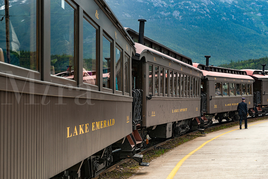 White Pass & Yukon Route touring train car in Skagway, Alaska, USA