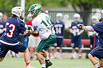 Orange, CA 05/16/15 - Jeremy Matelan (Dayton #53) and Josh Fagan (Concordia #10) in action during the 2015 MCLA Division II Championship game between Dayton and Concordia, at Chapman University in Orange, California.