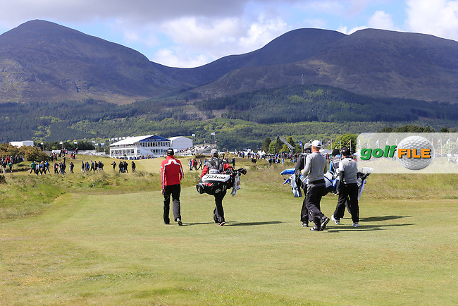 Simon THORNTON (IRL) walks off the 18th tee during Friday's Round 2 of the 2015 Dubai Duty Free Irish Open, Royal County Down Golf Club, Newcastle Co Down, Northern Ireland 5/29/2015<br />  Picture Eoin Clarke, www.golffile.ie