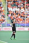 The Hague, Netherlands, June 10: Phil Burrows #18 of New Zealand gestures during the field hockey group match (Men - Group B) between New Zealand and The Netherlands on June 10, 2014 during the World Cup 2014 at Kyocera Stadium in The Hague, Netherlands. Final score 1-1 (0-1) (Photo by Dirk Markgraf / www.265-images.com) *** Local caption ***