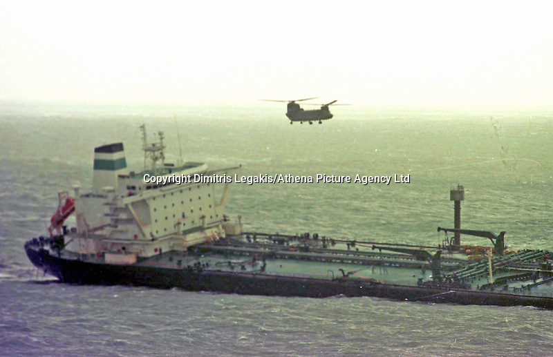 Pictured: The Sea Empress<br /> Re: The Sea Empress oil spill occurred at the entrance to the Milford Haven Waterway in Pembrokeshire, Wales on 15th February 1996 which was followed up by a clean up operation has begun