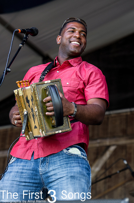 Lil Nathan & the Zydeco Big Timers perform during the New Orleans Jazz & Heritage Festival in New Orleans, LA.
