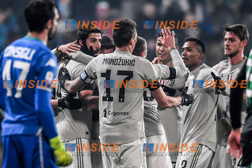 Sami Khedira Juventus celebrates with team mates after scoring a goal.<br /> Reggio Emilia 10-2-2019 Stadio Mapei, Football Serie A 2018/2019 Sassuolo - Juventus<br /> Foto Andrea Staccioli / Insidefoto