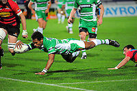Lote Raikabula scores for Manawatu. ITM Cup rugby - Manawatu Turbos v Canterbury at FMG Stadium, Palmerston North, New Zealand on Friday, 5 August 2010. Photo: Dave Lintott / lintottphoto.co.nz