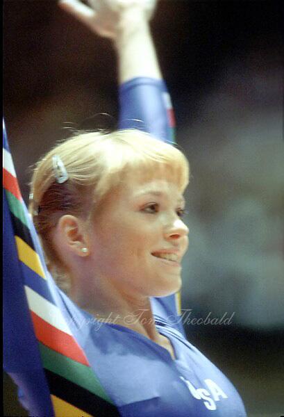 May 15, 1983; Los Angeles, California, USA; Artistic gymnast Julianne McNamara of USA salutes judges before performing at USA vs USSR dual meet at Los Angeles.  Copyright 1983 Tom Theobald.