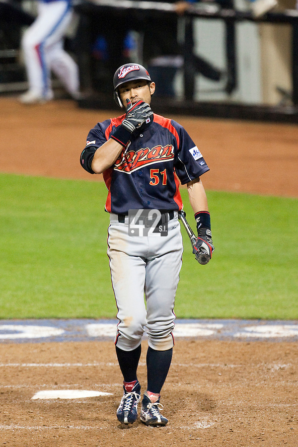 17 March 2009: #51 Ichiro Suzuki of Japan is dejected after being called out on strikes during the 2009 World Baseball Classic Pool 1 game 4 at Petco Park in San Diego, California, USA. Korea wins 4-1 over Japan.
