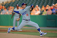 Chattanooga Lookouts starting pitcher Zach Lee #18 delivers a pitch during a game against the Tennessee Smokies at Smokies Park on April 10, 2013 in Kodak, Tennessee. The Lookouts won 6-2. (Tony Farlow/Four Seam Images).