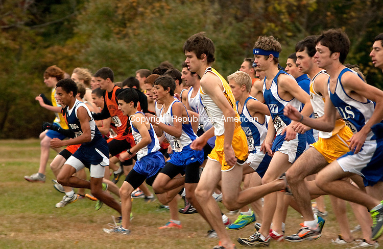THOMASTON, CT, 22 OCTOBER 2010-102210JS05-Runners take to the course during the Berkshire League Cross Country championships Friday at Black Rock Park in Thomaston. <br />  Jim Shannon Republican-American