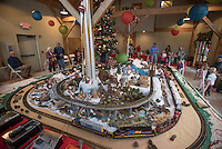 NWA Democrat-Gazette/J.T. WAMPLER The Gardenland Express is set up and running Sunday Nov. 29, 2015 by the Northwest Arkansas Garden Railway Society inside the main building at the Botanical Garden of the Ozarks in Fayetteville.