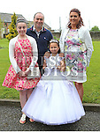 Kirsty Kells Who received first holy communion in St Cianan's church Duleek with her family Katie, Laura and Paul.<br /> <br /> Photo-Jenny Matthews