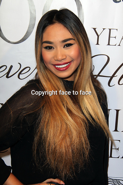 BEVERLY HILLS, CA - February 05: Jessica Sanchez at Experience East Meets West honoring Beverly Hills' momentous centennial year, Crustacean, Beverly Hills, February 05, 2014. Credit: Janice Ogata/MediaPunch Inc.<br />