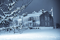 Fort Smith National Historic site Courthouse taken during a heavy snow storm at night.<br /> In 1872 the Federal Court for the Western District of Arkansas moved into the building, using one room as a courtroom and the other rooms as offices for the clerk, U.S.Marshall, and U.S. Commissioner. The basement became a primitive jail.<br /> <br /> In this building, Judge Issac C. Parker presided over the court cases from 1875-1889. In 1890, the court moved three blocks down the street to a new building. Public clamor over the conditions in the jail, which those confined there called &quot;Hell on the Border,&quot; led in 1887 to the construction of a new jail with more modern cell arrangements. This building continued to serve as a federal jail until 1917.