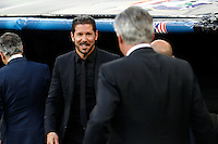 Atletico Madrid's coach Diego Pablo Simeone and Real Madrid´s coach Carlo Ancelotti